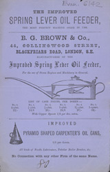 Advert For Brown's Spring Lever Oil Feeder